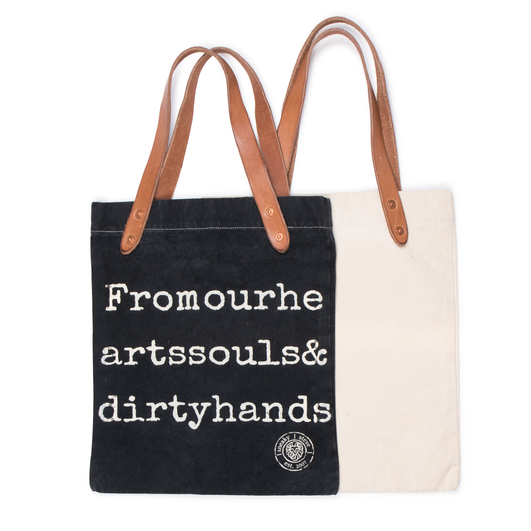 Logo Tote bag Offwhite and black back and front