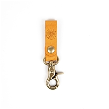 Keyring-leather-Ochre-Front